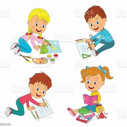 Learning Activity Vector Cartoon Illustration Child Russia