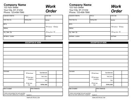 Free Printable Work Order Template 5 Work Order Templates Formats Exles In Word Excel