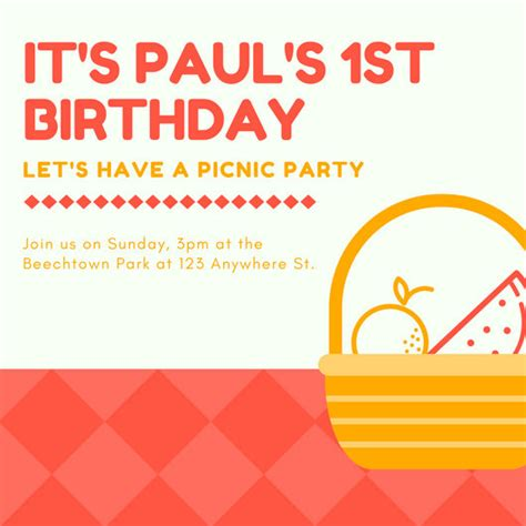 customize  picnic invitation templates  canva