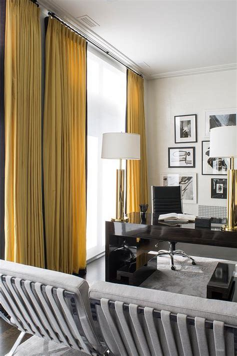 yellow geometric curtains contemporary den library