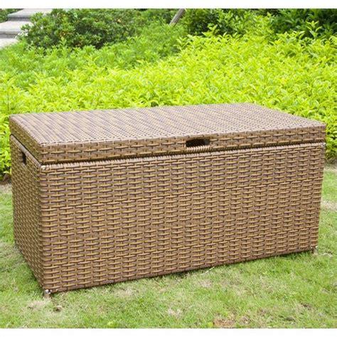 jeco wicker patio storage deck box  honey transitional