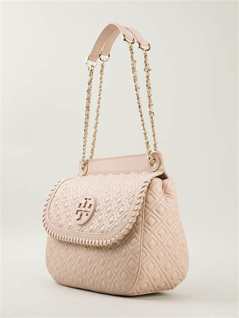 tory burch quilted shoulder bag  pink purple pink lyst