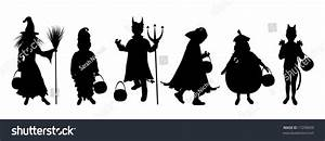 Silhouettes Children Trick Treating Halloween Costume ...