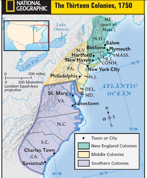 13 Colonies Middle Southern New England Map
