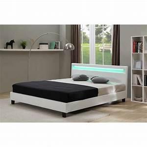 Lit Pas Cher 1 Place : lit avec led maria blanc 140 x 190 cm achat vente lit ~ Teatrodelosmanantiales.com Idées de Décoration