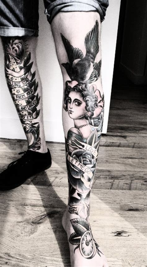 sexy leg tattoo designs  women