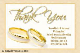 thank you wedding notes wedding thank you card wording sles easyday
