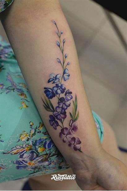 Tattoo Tattoos Flower Larkspur Side Watercolor Wrist