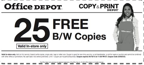 Office Depot Coupons For Printer by Office Depot Coupons 50 In Office Depot Coupons