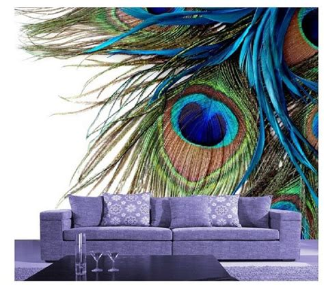 wall background  peacock feathers wallpaper print