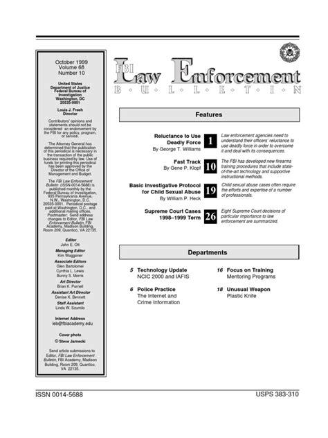 Fbi format thu apr 15, 2010 8:42 pm. FBI Law Enforcement Bulletin - Oct99leb   Federal Bureau ...