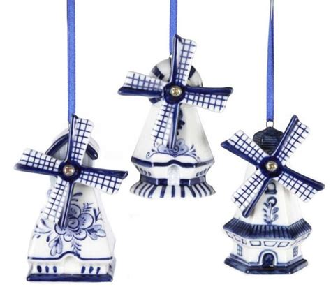 delft blue windmill ornaments christmas