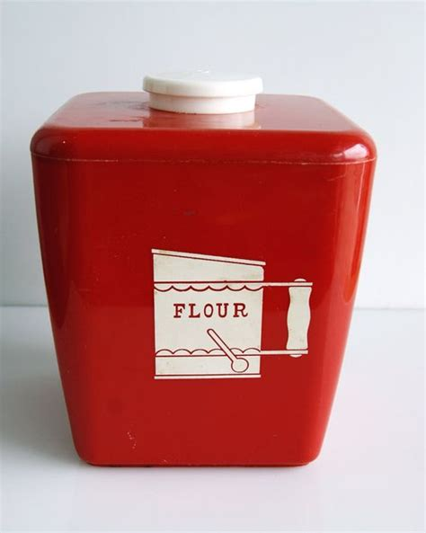 kitchen flour canisters bright red plastic flour kitchen canister kitchen canisters plastic and etsy