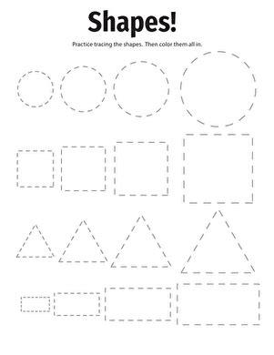 tracing basic shapes worksheet education 845 | tracing basic shapes preschool