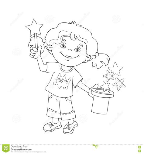 coloring page outline  cartoon girl showing  trick