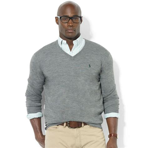 mens v neck sweater ralph vneck merino wool sweater in gray for lyst