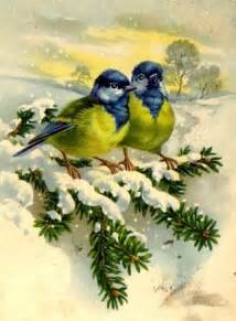 Vintage Christmas Card with Birds