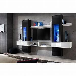 Meuble Tv Blanc Suspendu : meuble tv mural design comet i noir blanc ~ Dode.kayakingforconservation.com Idées de Décoration