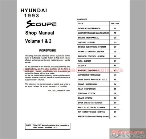 car repair manual download 1993 hyundai scoupe spare parts catalogs hyundai scoupe 1993 full manual auto repair manual forum heavy equipment forums download