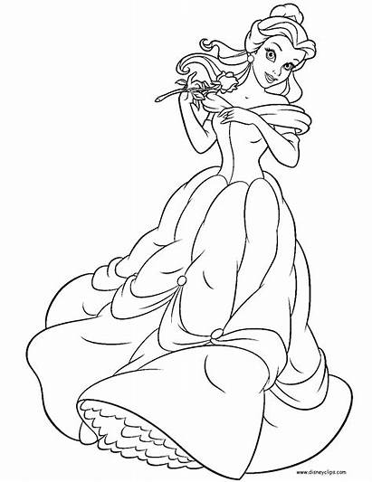 Belle Coloring Princess Disney Pages Beast Beauty