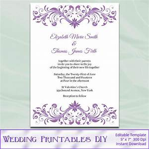 blank wedding invitation templates purple matik for With free printable wedding invitations lavender