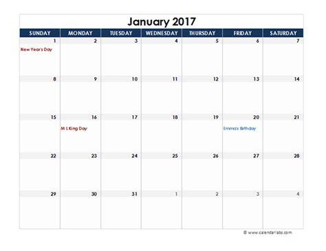 2017 Calendar Template Excel 2016 Excel Calendar Spreadsheet Free Printable Templates