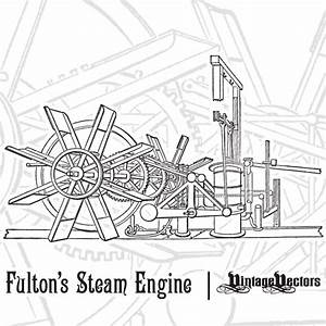 Vector Art  Fulton U2019s First Steamboat Engine  Diagram Of