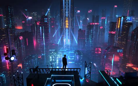 sci fi city buildings night cityscape   wallpaper