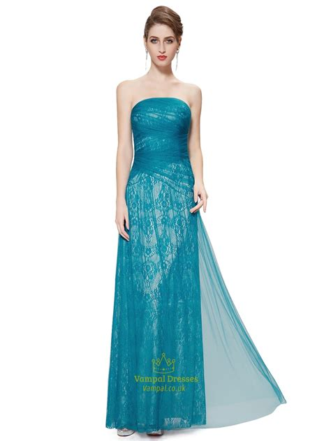 teal strapless lace sheath floor length prom dress