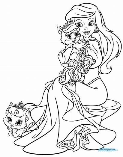 Coloring Pages Ariel Pets Palace Disney Princess