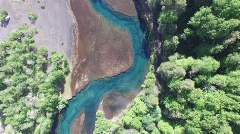 Aerial drone scene top view of green river in south ...