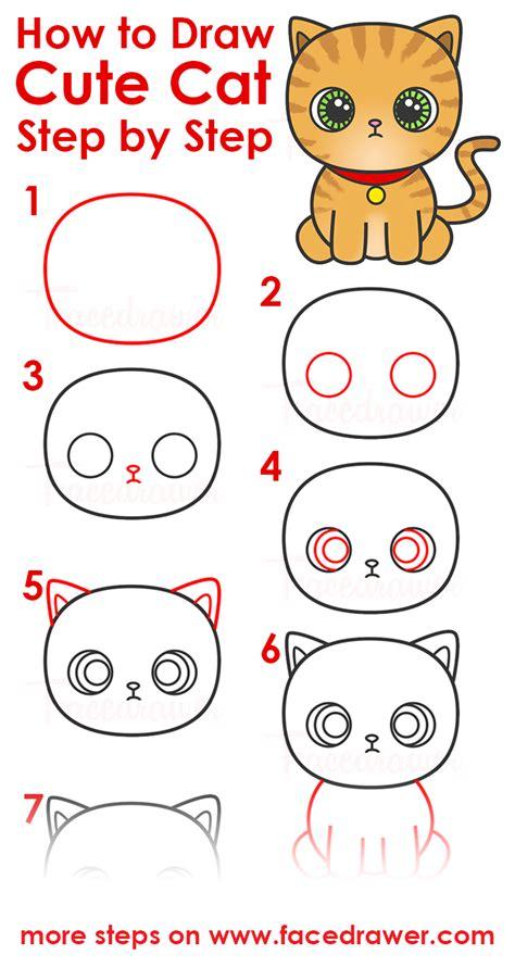 draw cute cat step  step  kids facedrawer