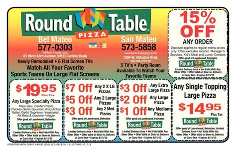 round table pizza menu prices menlo park coupons