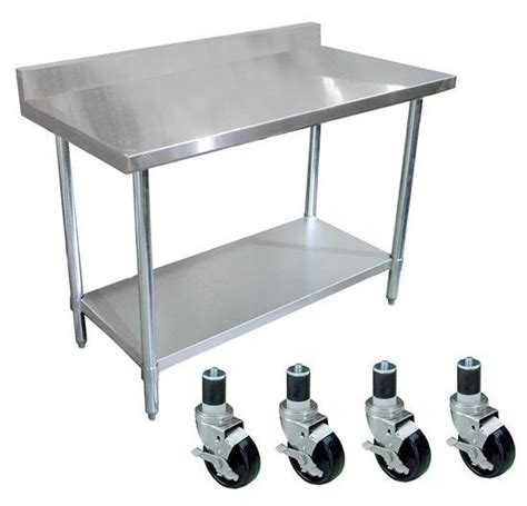 stainless steel table with casters stainless steel work prep table 30 x 60 with 4 quot backsplash