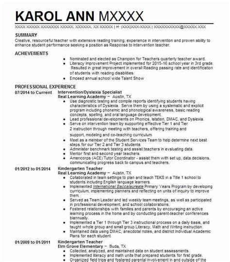 kindergarten resume summary kindergarten resume exles education and resumes livecareer