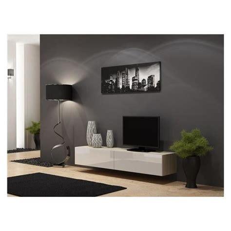Meuble Tv Design Suspendu Vito 180 Bois Et Blanc