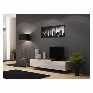 Meuble Tv Suspendu But : meuble tv design suspendu vito 180 bois et blanc achat vente meuble tv meuble tv vito 180 bc ~ Teatrodelosmanantiales.com Idées de Décoration