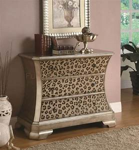 Gold tone finish modern cabinet w leopard print accents for Animal print furniture home decor