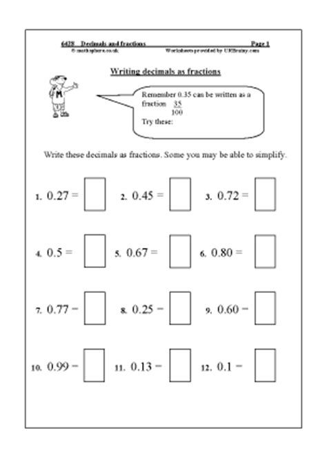 decimals and fractions division and fractions maths
