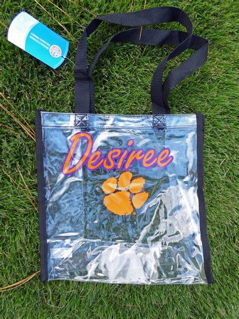 clemson girl clemson girl giveaway win  clear clemson customized bag