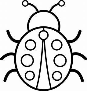 Cute Colorable Ladybug - Free Clip Art