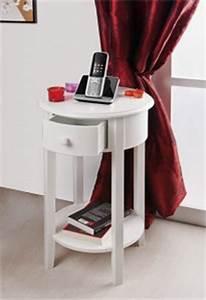 Beistelltisch Weiß Mit Schublade : kommode beistelltisch rund mit einer schublade und ablage in wei k che haushalt ~ Bigdaddyawards.com Haus und Dekorationen