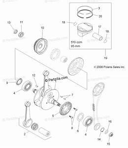 Polaris Atv 2009 Oem Parts Diagram For Engine  Crankshaft  U0026 Piston