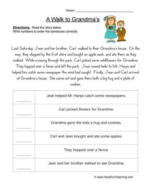 sequencing worksheets teaching