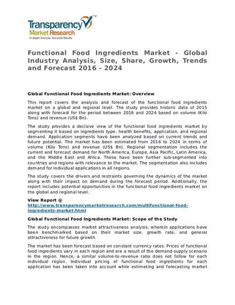 Functional Food Ingredients Market Research Report and ...