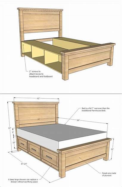 Bed Plans Frame Queen Farmhouse Drawers Platform