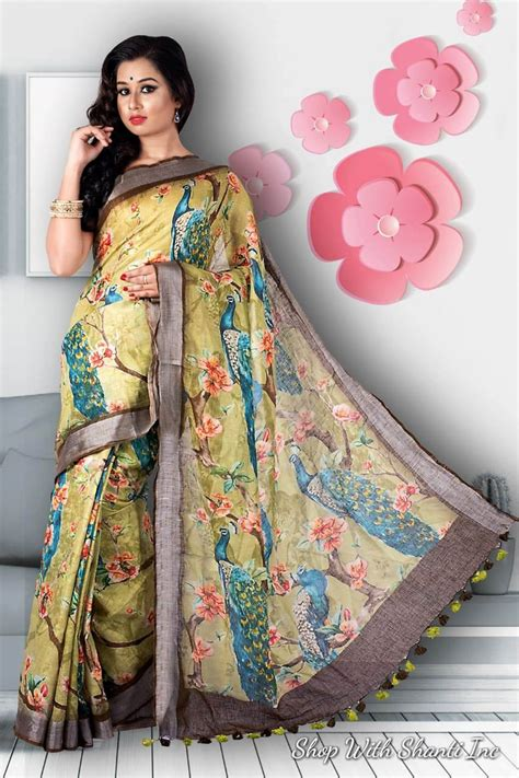 Look at this combination of a typical red pattu saree with a green floral embroidery blouse for a bridal outfit. Linen by linen digital printed multi color pure organic handwoven saree with contrast silver ...