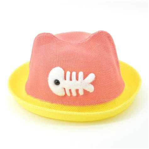 Topi Dan Pelindung Leher Bayi topi pantai bayi motif ikan lucu pink jakartanotebook