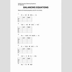 Balancing Chemical Equations By Willmatthews  Teaching Resources