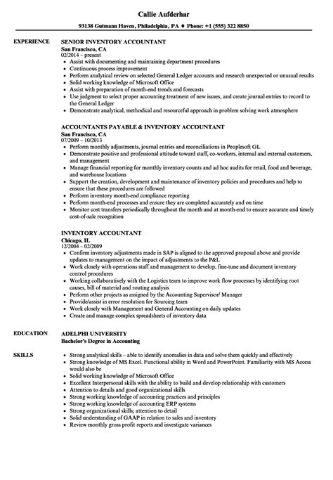 Accountant Resume by Inventory Accountant Resume Sles Velvet